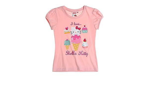 Hello Kitty - Camiseta de manga corta - para niña rosa 10 años: Amazon.es: Ropa y accesorios