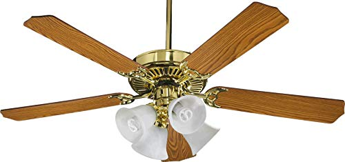 (Quorum International 77525-8102 Capri V 52-Inch 4 Light CFL Ceiling Fan, Polished Brass Finish with Faux Alabaster Glass Shades and Reversible Blades)