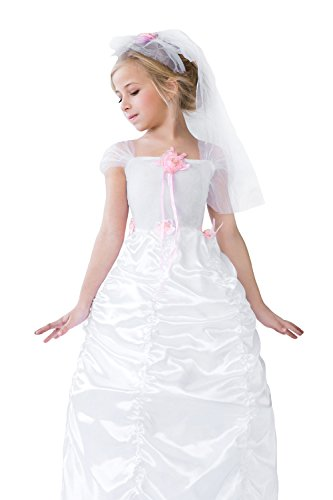 [Kids Girls Charming Bride Halloween Costume Pretty Princess Dress Up & Role Play (3-6 years, white,] (Cool Halloween Costumes For Three Girls)