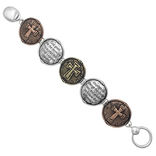 Silver Tone Beaded Disc - Serenity Prayer Worded Scripture Christian Cross Bracelet (Tri Tone Disk Clasp)