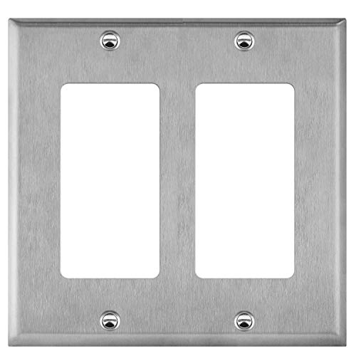 "ENERLITES Decorator Switch or Receptacle Outlet Metal Wall Plate, Corrosive Resistant, Size 2-Gang 4.50"" x 4.57"", 7732, 430 Stainless Steel, UL Listed, Silver"