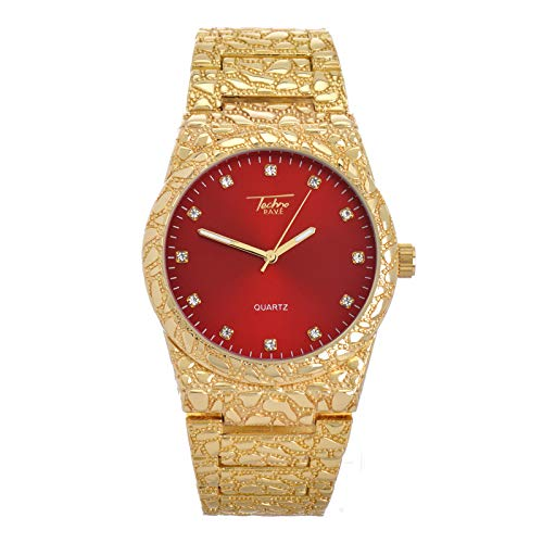 Bling Hip Hop Rapper Nugget Rapper Iced CZ Gold Plated Metal Band Watches WM 8364 GRD