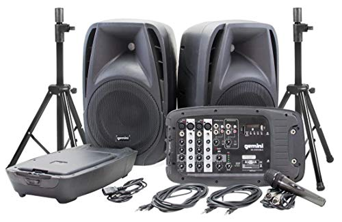 Gemini ES-210MXBLU-ST Bluetooth Portable PA System With Detachable Powered - Systems Electrovoice Professional Speaker