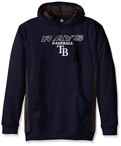 MLB Tampa Bay Rays Men's Fleece Hood, 4X Tall, Navy/StormGrey ()