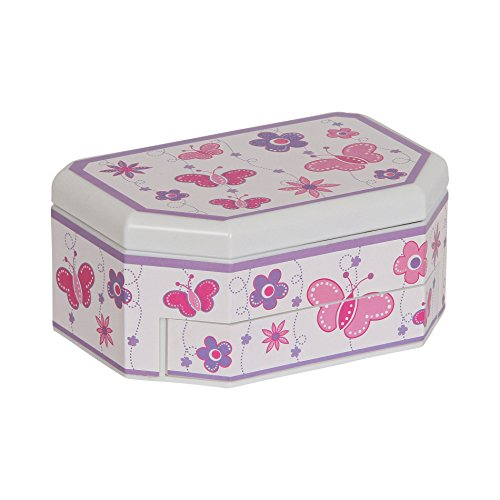 Mele & Co.. Kelsey Girl's Musical Ballerina Jewelry Box (Butterfly and Flower (Ballerina White Trinket Box)