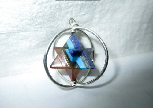 Jet Chakra Star Spinning Merkaba Pendant Sacred Geometry Platonic Solid Healing Genuine Crystal Metaphysical Spiritual Chakra Balancing Divine Gift Love Pagan Blessings Luck w/ (Crystal Solid Heart)