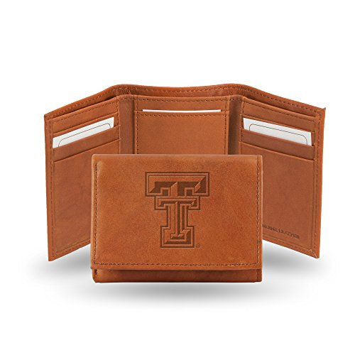 (Rico Industries NCAA Texas Tech Red Raiders Embossed Leather Trifold Wallet, Tan)