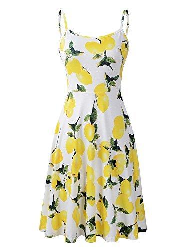 eless Adjustable Strappy Summer Floral Flared Swing Dress Medium FL-4 ()