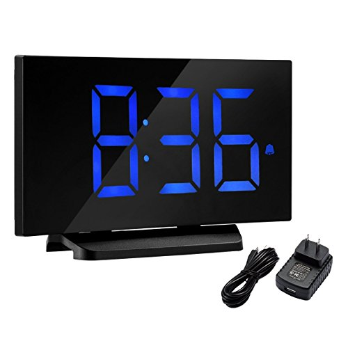Digital Alarm Clock, Atmoko 5'' LED Display Clock with Curved-screen and Dimmer, Snooze Function, 3 Adjustable Alarm Sounds, Bedside Alarm Clock for Bedroom, Kitchen, Office-Blue (Natural Black Table Clock)