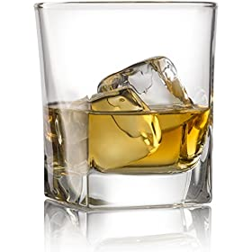 Double Old Fashioned Whiskey Glass (Set of 4) with Granite Chilling Stones – 10 oz Heavy Base