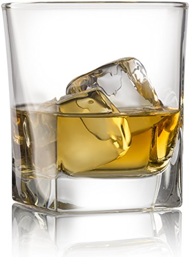 Double Old Fashioned Whiskey Glass (Set of 4) with Chilling Stones - 10 oz Heavy Base Rocks Barware Glasses for Scotch, Bourbon and Cocktail - Glasswear Personalized