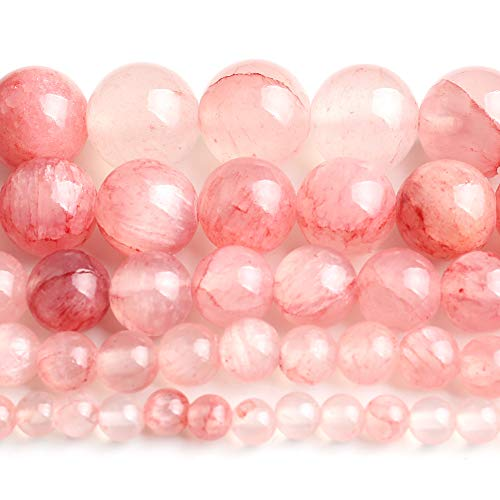 Yochus 10mm Cherry Jades Round Loose Beads Natural Stone Beads for Jewelry Making