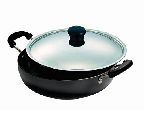 Vinod Hard Anodized Kadai with Stainless Steel Lid, 1.6-Liter