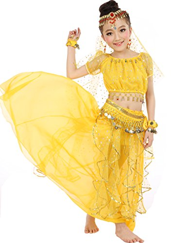 Astage Big Girls` Belly Dance Carnival Dancing Dress Yellow S-M (Little Girl Belly Dancing Costumes)