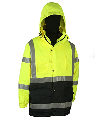 Safety Depot Two Tone Lime Yellow Black Reflective Class 3 Safety Parka Jacket Reversible Two Piece With Zipper and Pockets 360c-3 (Extra Large)