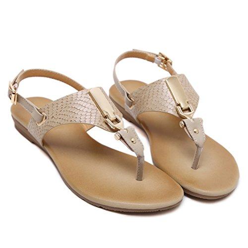 Ruiren Women Flat Sandals,Summer Flip-Flops Shoes for Ladies Apricot