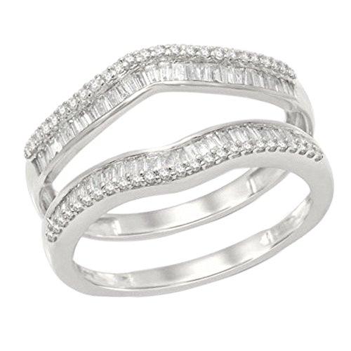 OMEGA JEWELLERY 14K White Gold Round & Baguette Shape Natural Diamond Wrap Enhancer Engagement Ring (1/2 Ct) (Omega Diamond Ring)