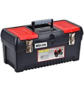 MEIJIA Portable Tool Storage Box, Organizers With Mental Latches And Detachable Tray(Black And Re...