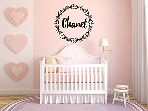 Vinyl Sticker Chanel Girl Floral Name Font Type Kids Room Nursery Mural Decal Wall Art Decor EH3890