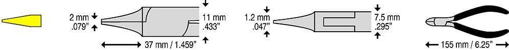 C.K T3783D Pince /à becs demi-ronds ESD 160 mm Droite et extra fine M/âchoires lisses