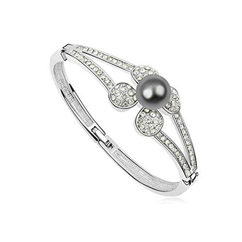 Adisaer White Gold Plated Women Bracelet Bangle Bracelets Flower Round Pearl Dark Gray CZ (Gray Round Bracelets)
