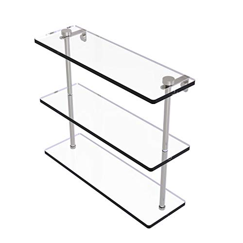 Allied Brass NS-5/16 16 Inch Triple Tiered Glass Shelf, Satin Nickel