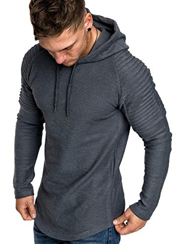 KENANCY Mens Pullover Hoodie Pleated Solid Color Drawstring Sweatshirt for $<!--$21.99-->
