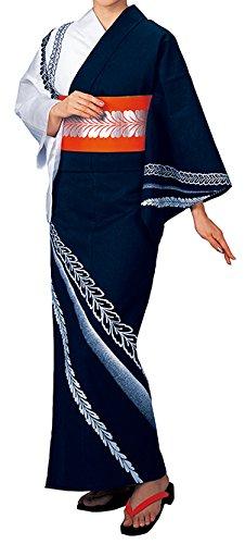 踊り衣裳 反物 大印 本絵羽ゆかた 白×濃紺 メンズ レディース