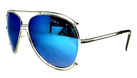Halo Double Wire Rim Aviator Sunglasses (Silver, Blue Iridium Mirror) - Wire Frame Gradient Sunglasses