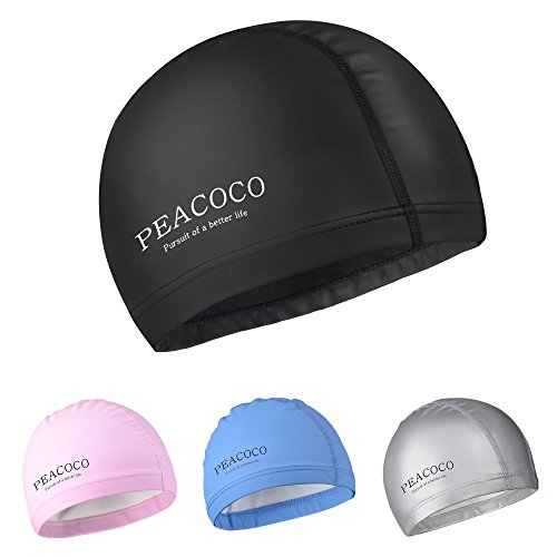 Peacoco Lycra Swim Cap PU Swimming Cap for Men, Women, Youth and...