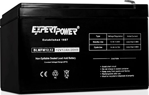 Mercury Battery Replacement - ExpertPower 12V 12AH Sealed Lead Acid (SLA) || LW-6FM12S, LHR12-12, HR1251W, GPS12-12F2 and BP12-12 Replacement Battery Black EXP1212 Absorbent Glass Mat 1 Pack