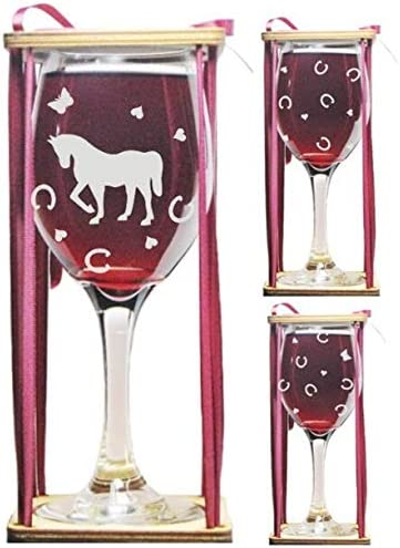 Horse Stemmed Wine Glass with Charm and Presentation Packaging