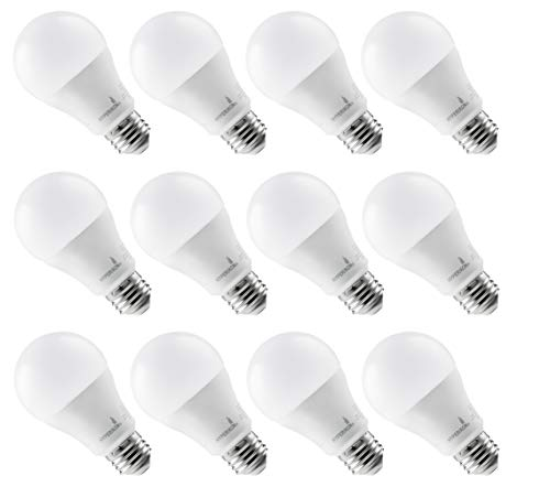 Hyperikon A19 LED Light, 100 Watt (14W), E26 Dimmable Light Bulb, 3000K, UL, 12 Pack