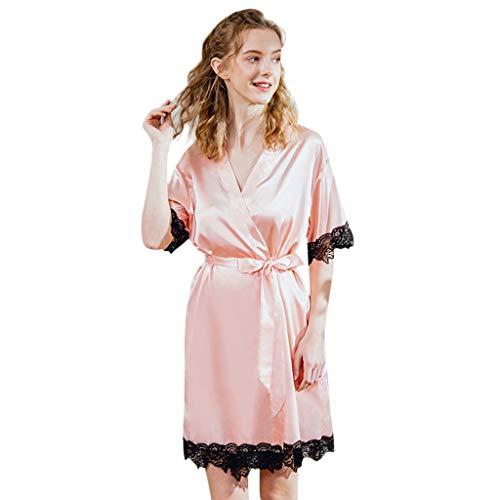 Emimarol Women's Nightdress Lace Satin Nightgowns Long Chemise Sleepwear Pink