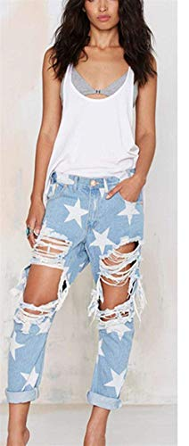 Stella Pantaloni Blu Jeans Locomotiva Elastico A Donna Hellblau Collant Giovane Casual Hole x4SwwqIa5