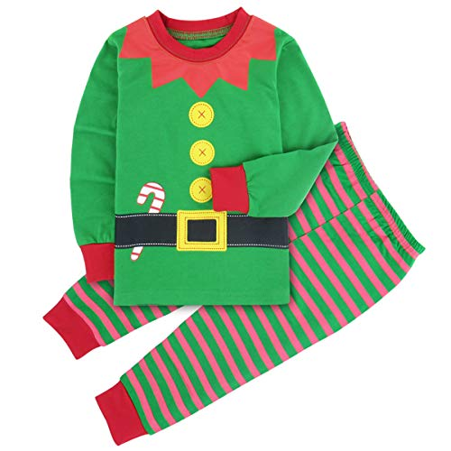 A&J DESIGN Little Boys' Xmas Elf Pajamas Sleepwear Pjs Set (6, Fairy)