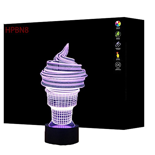 3D Ice Cream Night Light USB Touch Switch Decor Table Desk Optical Illusion Lamps 7 Color Changing Lights LED Table Lamp Xmas Home Love Brithday Children Kids Decor Toy Gift by HPBN8
