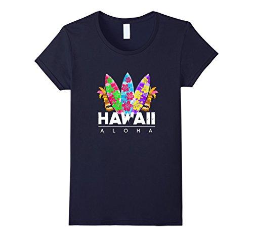 Womens Aloha Hawaii T Shirt   Cool Surfing Aloha Tee Medium Navy