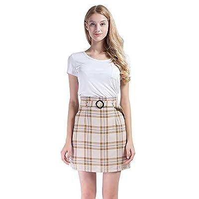 Vero Viva Womens Plaid High Waist Drawstring Belt A-Line Mini Skirt with Pockets