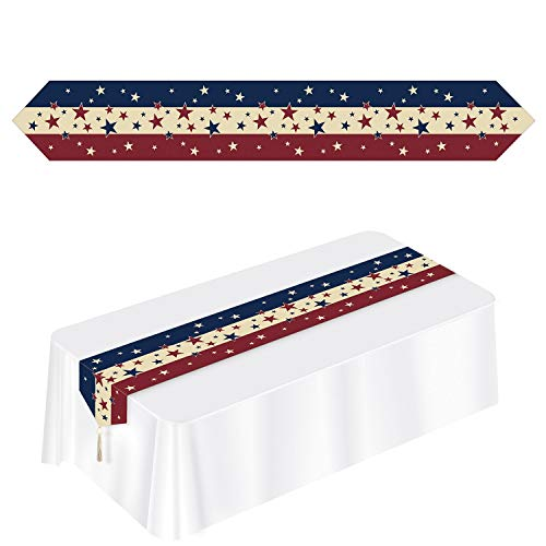 Club Americana - Party Central Club Pack of 12 Printed Stars and Stripes Patriotic Disposable Americana Table Runner 72