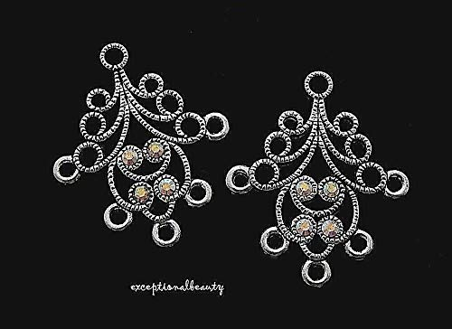 - Antiqued Silver Aurora Borealis Crystal Rhinestone Chandelier Earring Findings