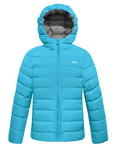 Wantdo Boy's Light Sport Casual Jacket Hooded Down Coats (Acid Blue, 10/12)