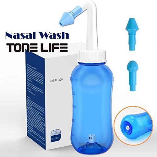 TONELIFE (2 Nozzle) Neti Pot Nasal Wash Bottle Nose Cleaner & Sinus Irrigation System Neti Pot 300ml 10oz Nasal Wash Device Nasal Cleanse Nose Irrigation Allergic Rhinitis Treatment