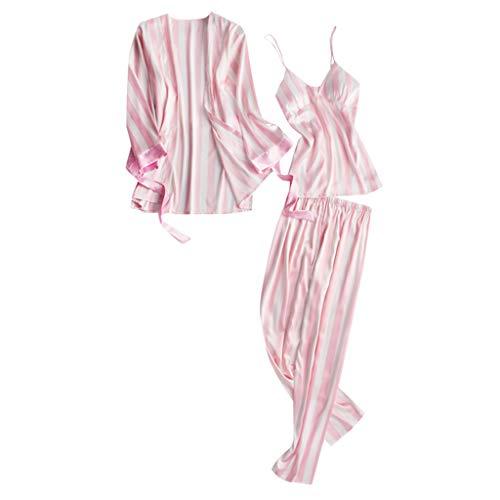 Xinantime- Women's Three Sets of Pajamas Satin Pajamas Set Silk Sleepwear Sexy Sling Nightwear Gift Lingerie Set Pink ()