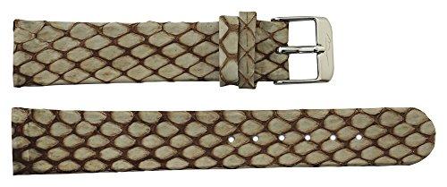 Moog Paris Light Brown Fresh Water Snake Skin Watch Band, Snake Skin Pattern, Pin Clasp, 18mm Strap -