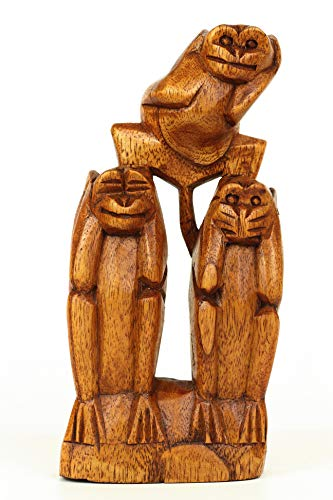 G6 Collection Wooden Hand Carved 3 Standing Monkeys See, Hear, Speak No Evil Figurines Handmade Art Statue Rustic Sculpture Decorative Home Decor Accent Handcrafted Decoration