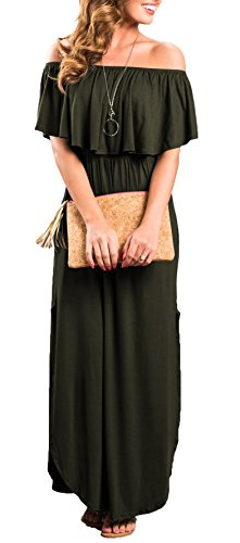 Split Dresses with Olive Sarin Party The Pockets Long Maxi Womens Beach Casual Side Mathews Shoulder Off Ruffle Dress C4qUv