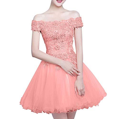 Rosa Pfirsisch Cocktailkleider Spitze Ballkleider Romantisch La Mini Braut Marie Kurz Brautjungfernkleider Abendkleider USHHtq