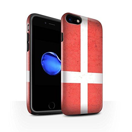 STUFF4 Gloss Tough Shock Proof Phone Case for Apple iPhone 8 / Denmark/Danish Design / European Flag - Collection The Danish