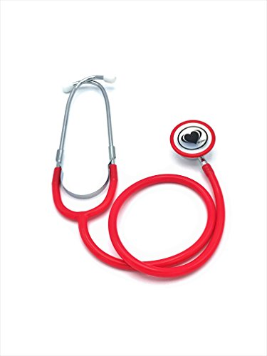 Wyltec Acoustica Deluxe Lightweight Dual Head Stethoscope - Latex Free - External Spring binaural, Rimmed Non-chill Rings, and Quality Diaphragm - - Stethoscope Red